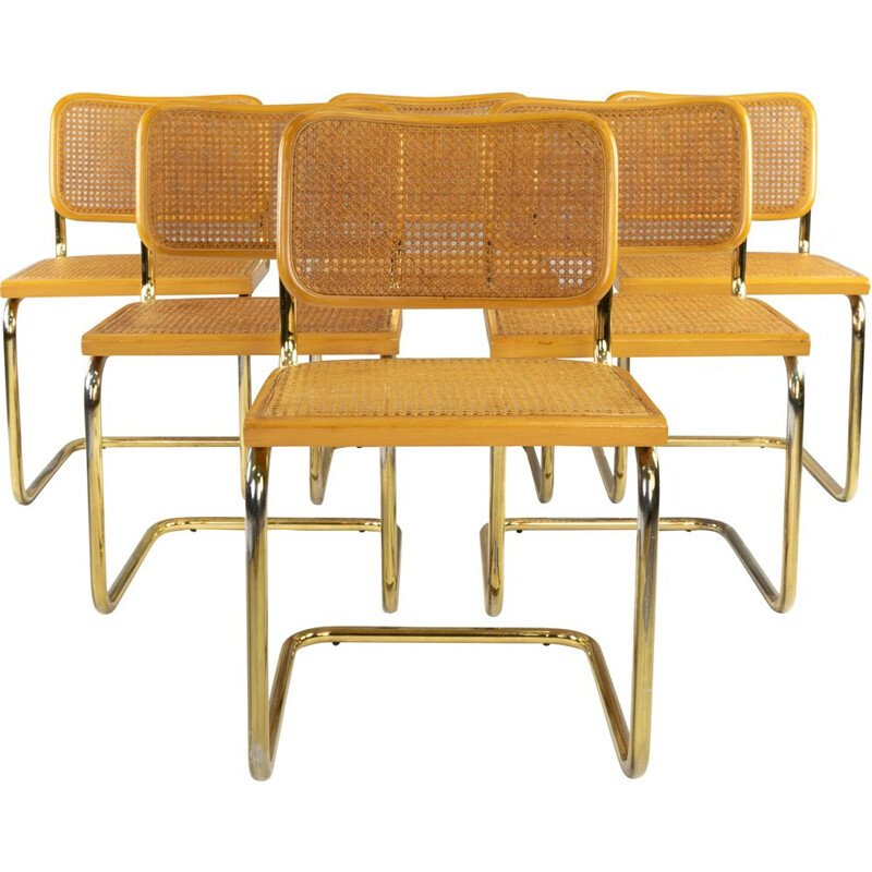 Set of 6 Marcel Breuer B32 Cesca Brass Chairs, Italy, 1970