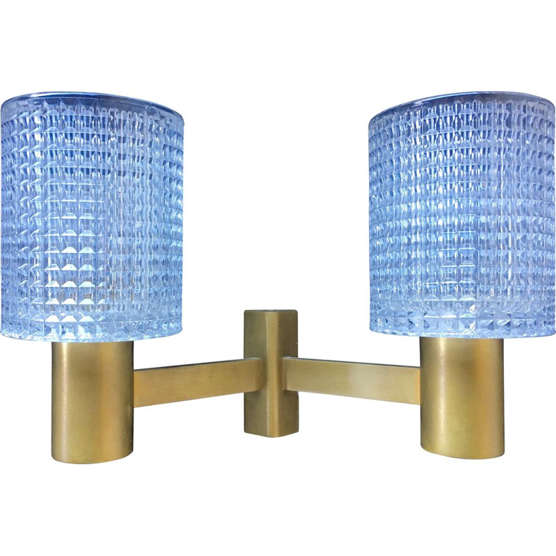 Vintage brass and crystal wall lamp by Carl Fagerlund, 1960