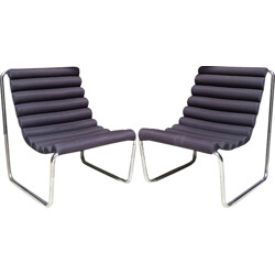 Pair of tubular steel and grey fabric easy chairs - 1970s