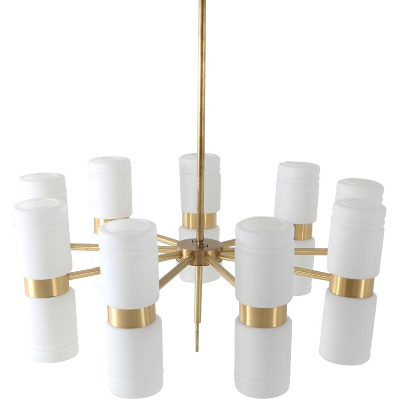 Vintage chandelier Hans-Agne Jakobsson brass and milky opaline glass