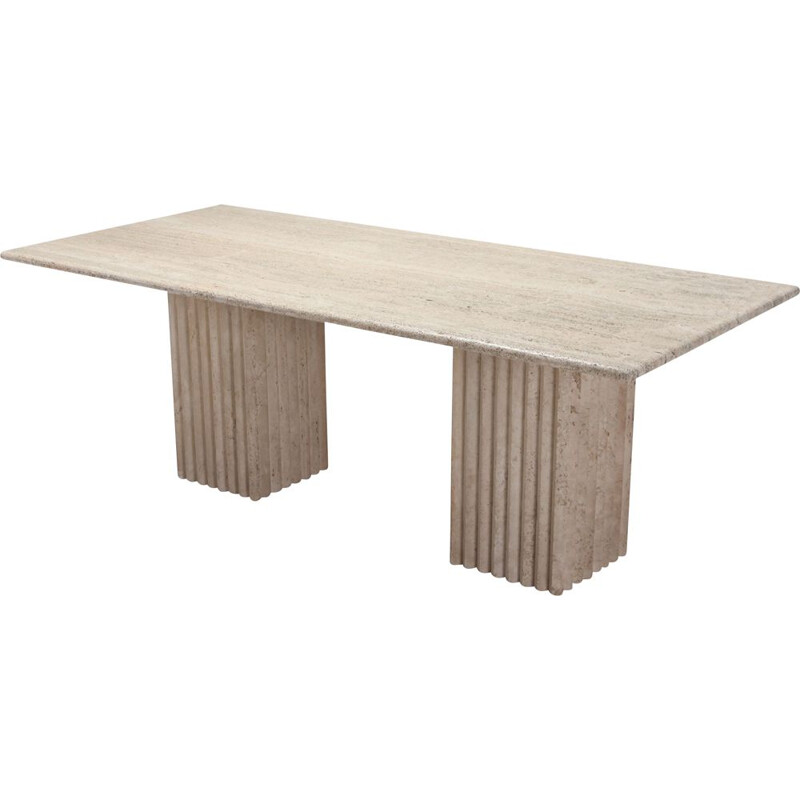 Vintage Dining Table in travertine, 1970s