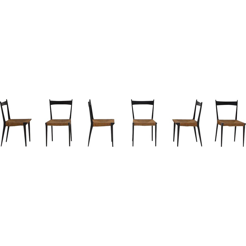 Set of 6 vintage chairs by Alfred Hendrickx for Belform 1958