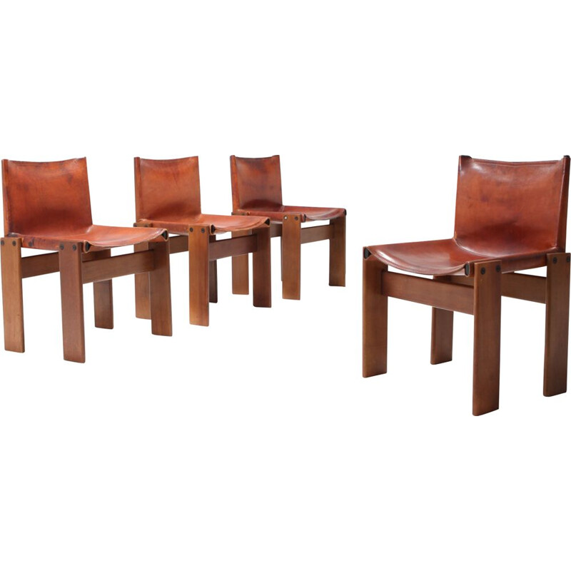 Set of 4 vintage Monk chairs in leather by Afra and Tobia Scarpa 1974
