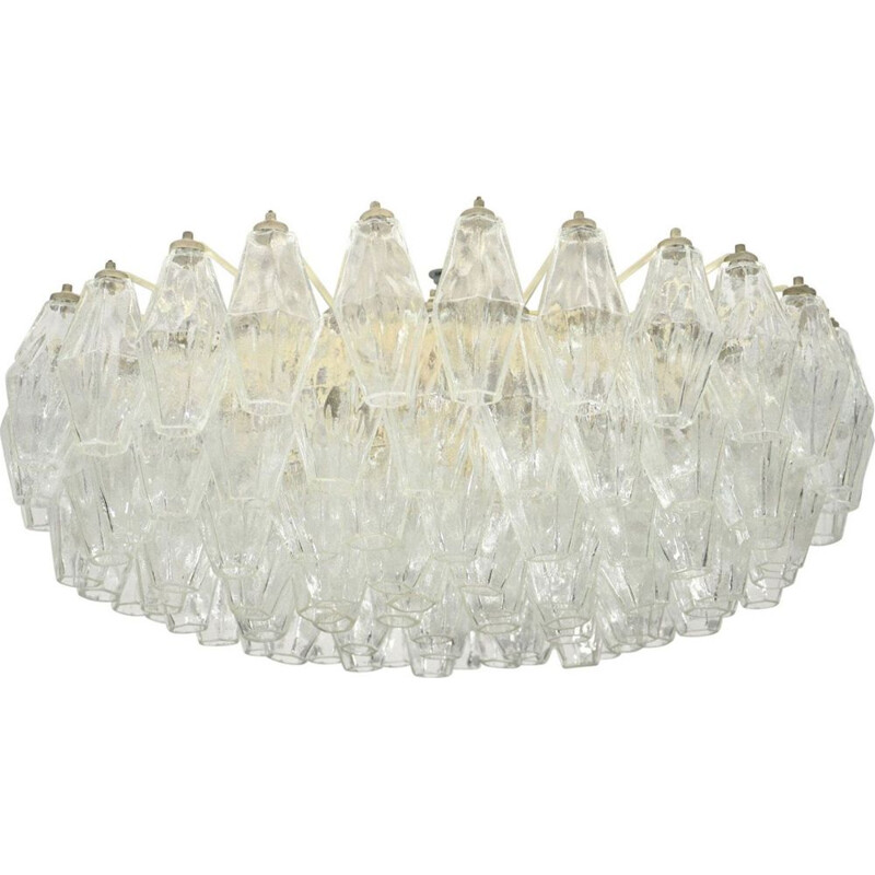 Large Poliedri vintage Ceiling Lamp By Carlo Scarpa For Venini, 1958