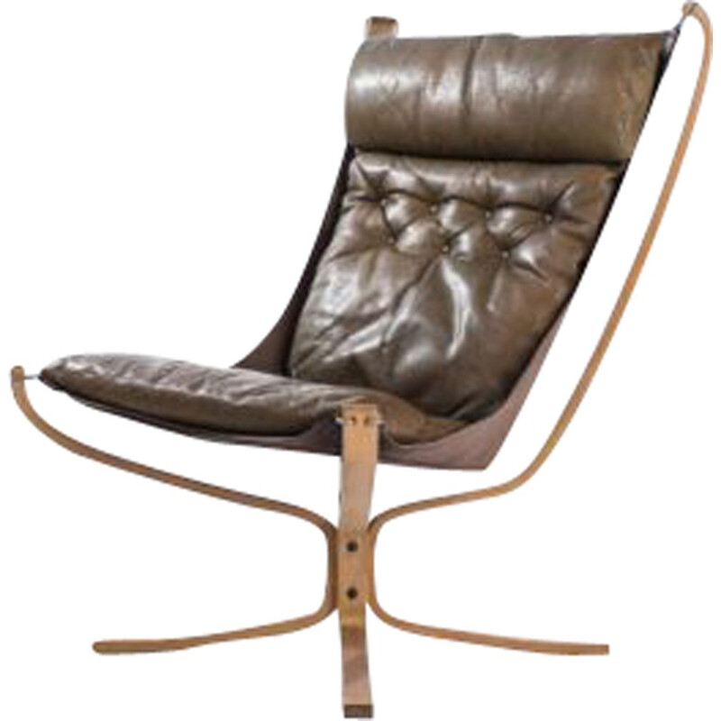 Sigurd Ressell and Vatne Mobler 1970 Vintage Falcon High Back Armchair