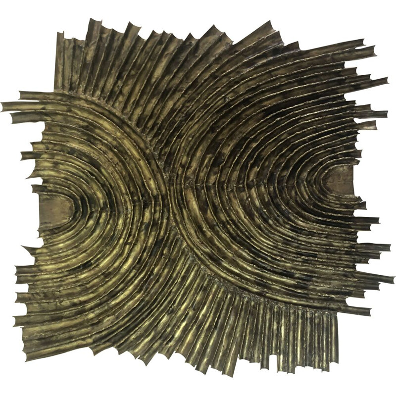Vintage brass wall sculpture by Dénis 1970
