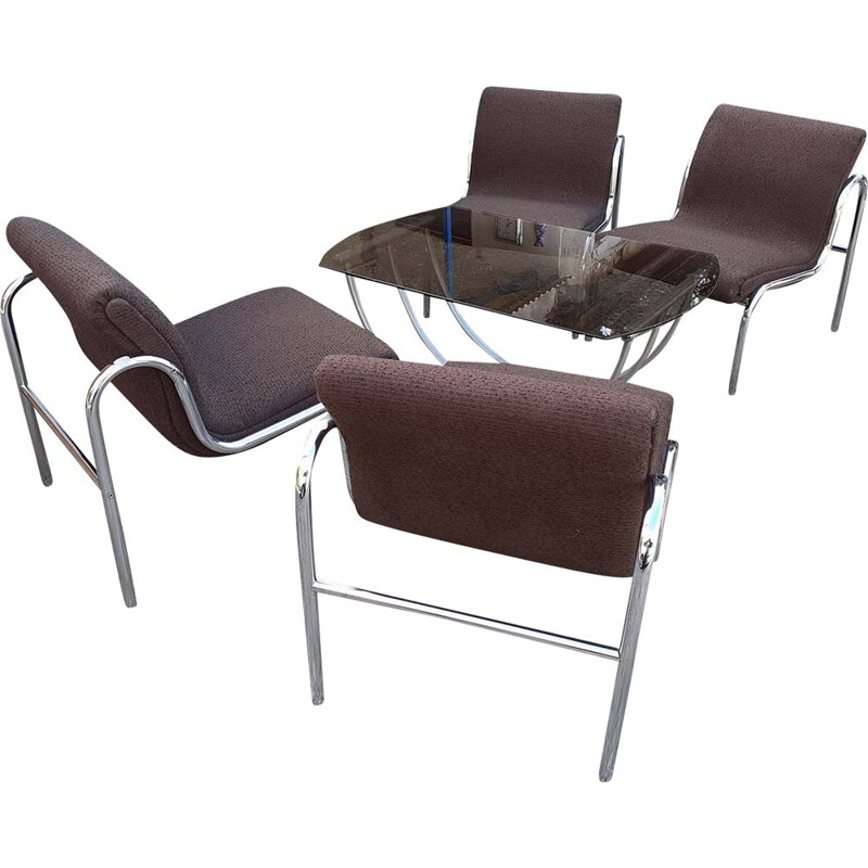 Set of 4 Vintage Hungarian Armchairs and Table Chromed Metal 1970