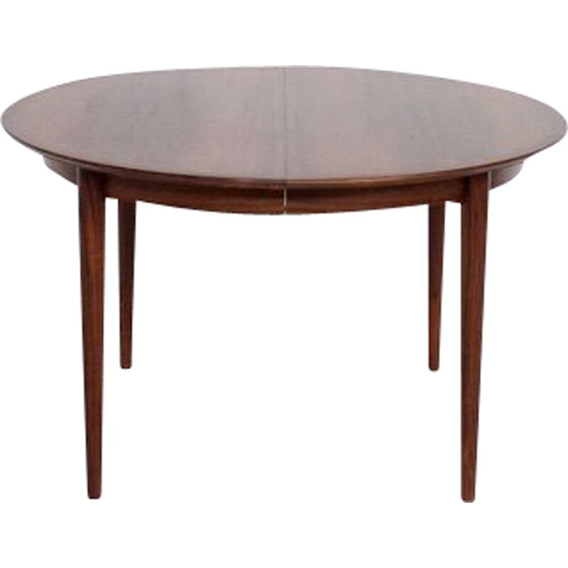 Vintage round rosewood round dining table, model 204, by Arne Vodder, Sibast, 1960