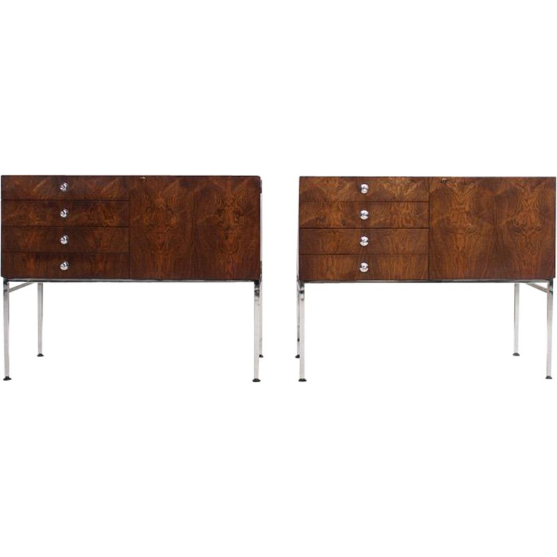Pair of vintage rosewood and chromed steel chests of drawers, 800 series, by Alain Richard, 1959