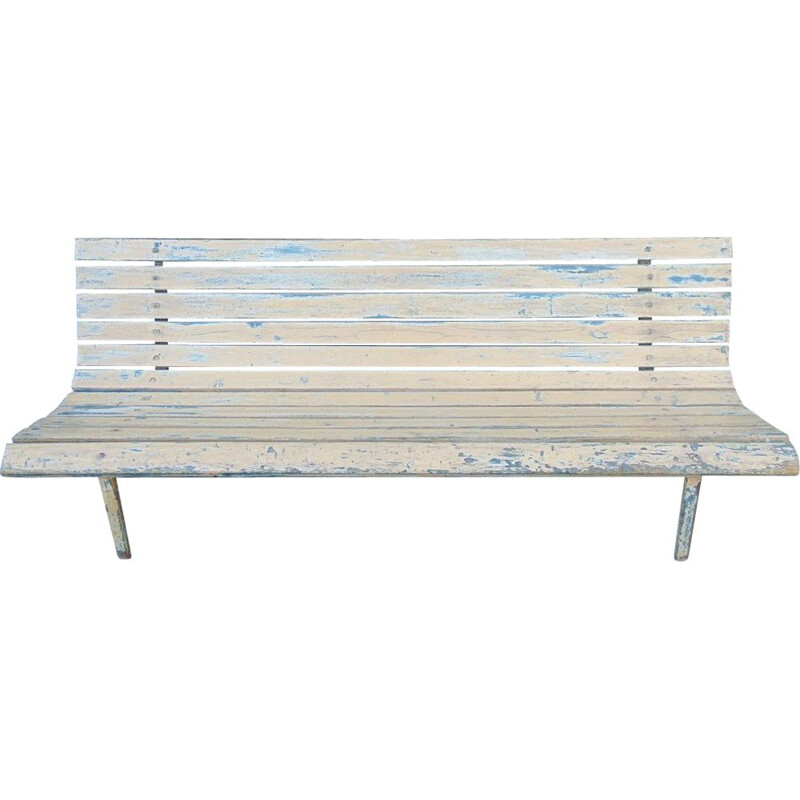 Train station vintage bench olid wood and iron feet 1950s