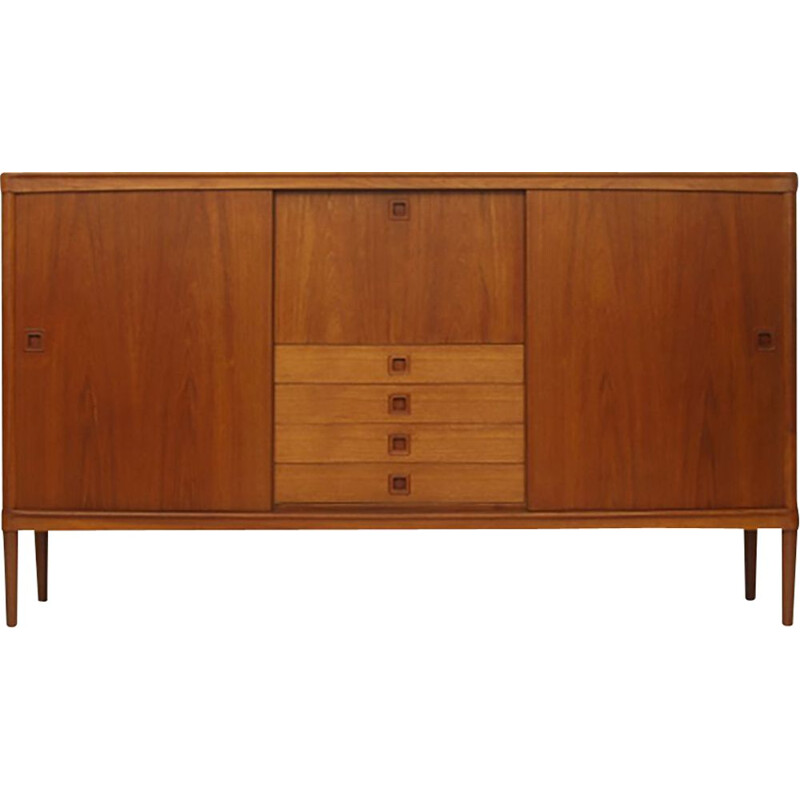 Vintage Teak Highboard With Sliding Doors by Henry W. Klein for Bramin Møbler Danish 1960s