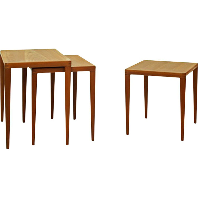 Set Of 3 vintage Teak Nesting Tables by Henry W. Klein for Bramin Møbler 1960s