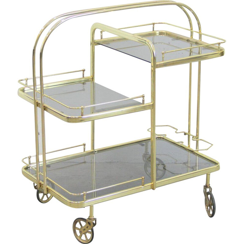 Vintage trolley in golden metal and grey tinted crystals Spain 1970s