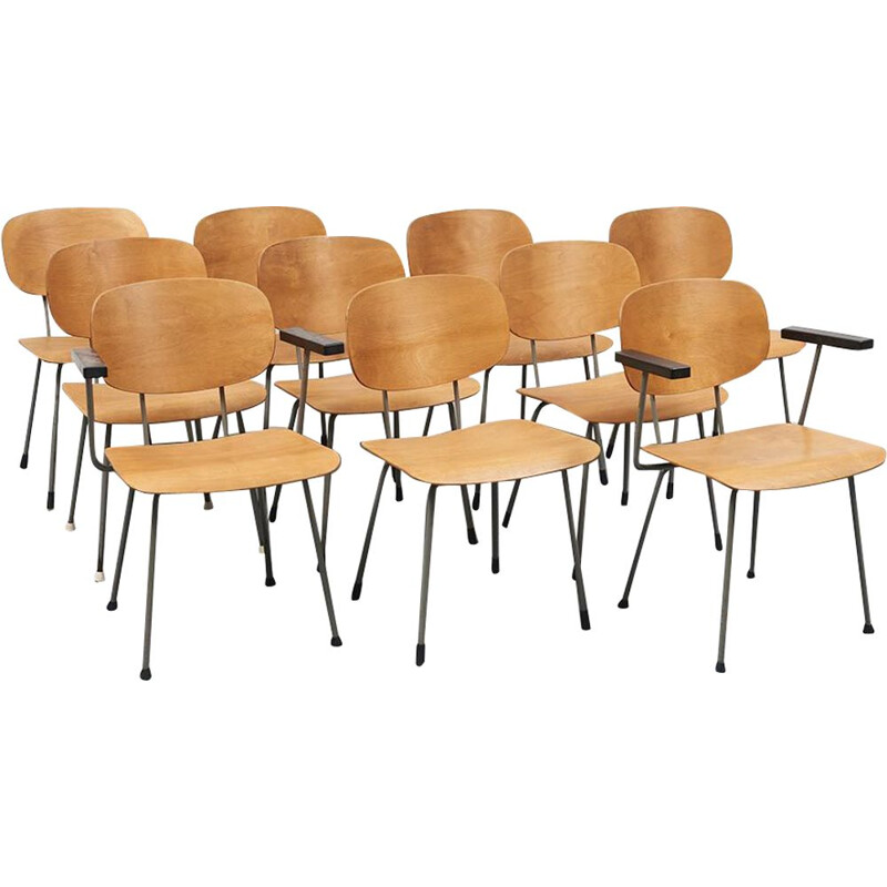 Set of 12 vintage chairs by Wim Rietveld for Dutch Gispen 1953