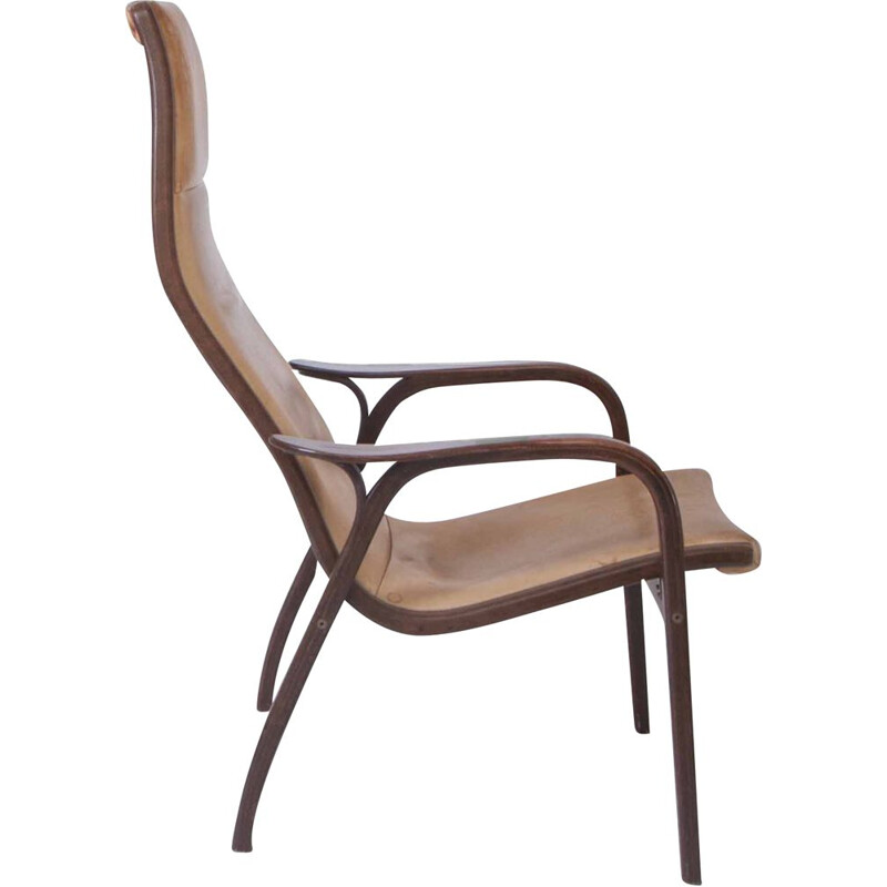 "Vintage ""Lamino"" easy chair by Yngve Ekström Teak and leather Sweden 1970s"