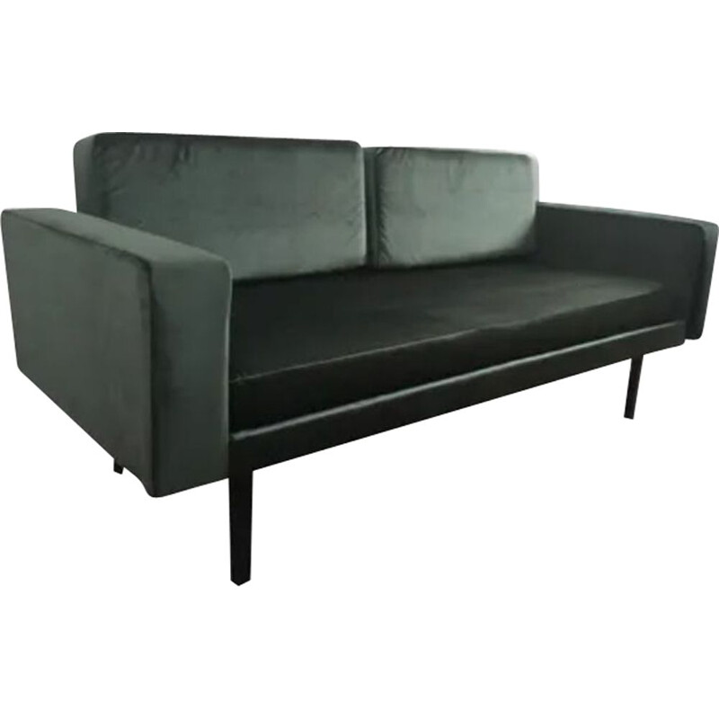 Vintage sofa black steel extensible bed 1960