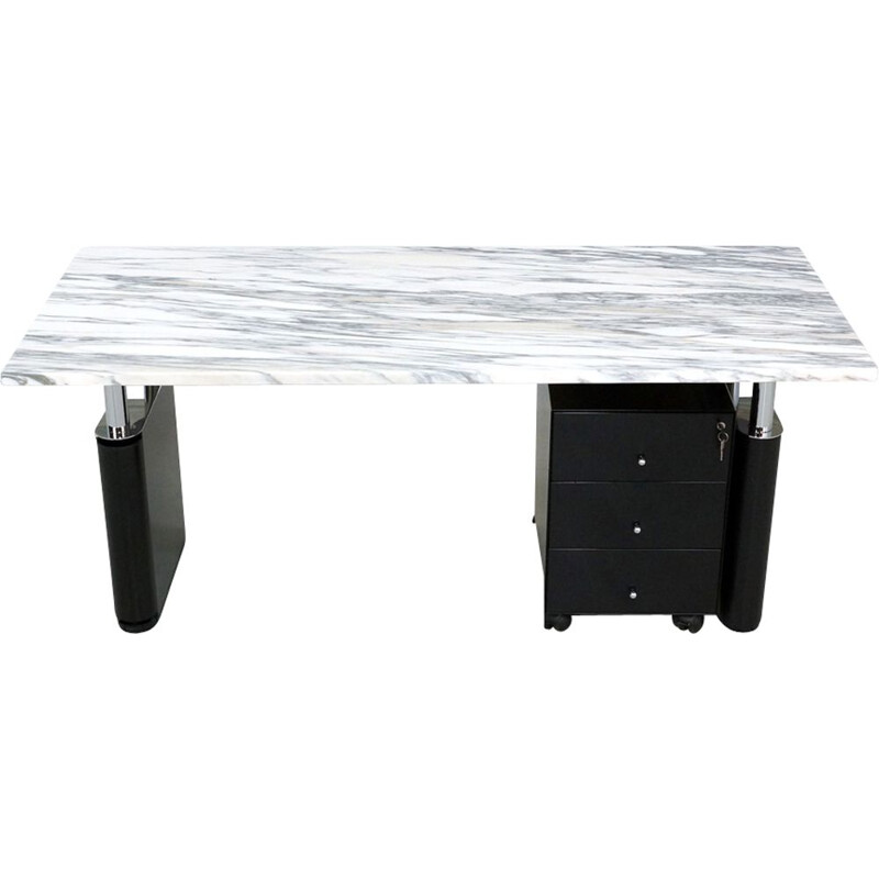 Vintage desk by Kum from Gae Aulenti for Tecno with a marble top