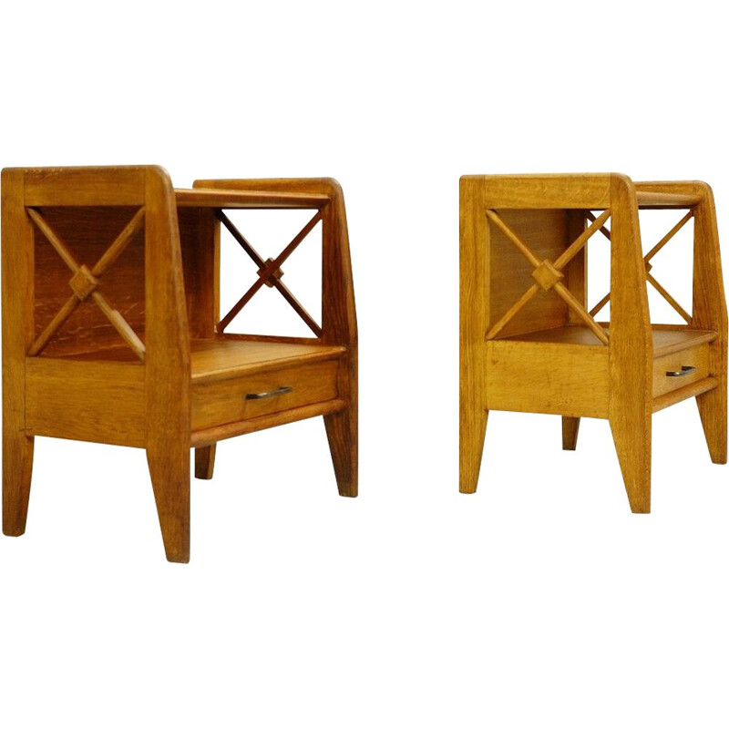 Pair of vintage oak bedside tables - atelier Saint Sabin reconstruction 1951