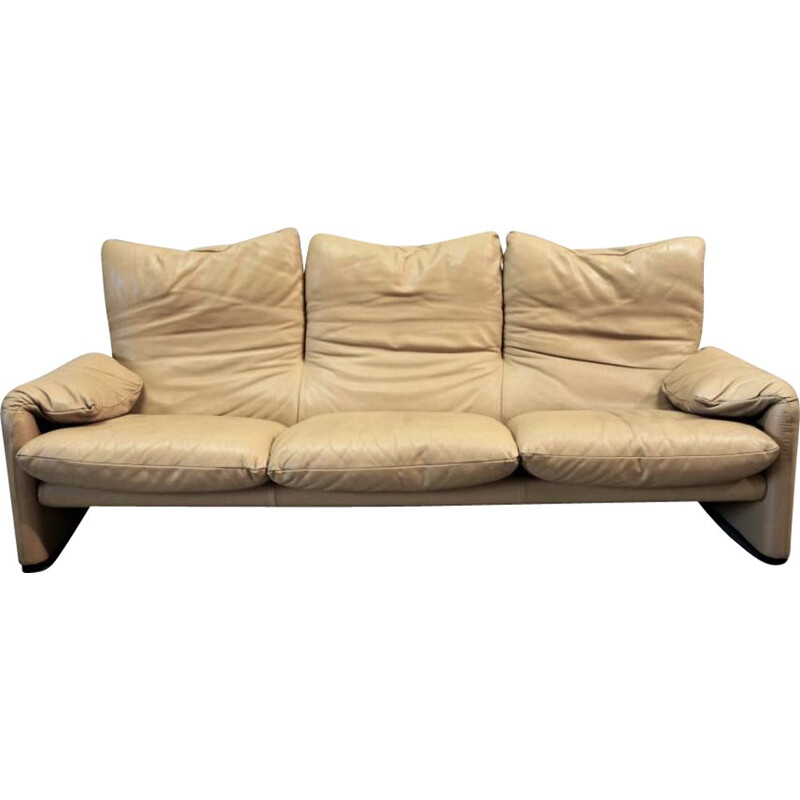 Vintage Maralunga bisque leather sofa