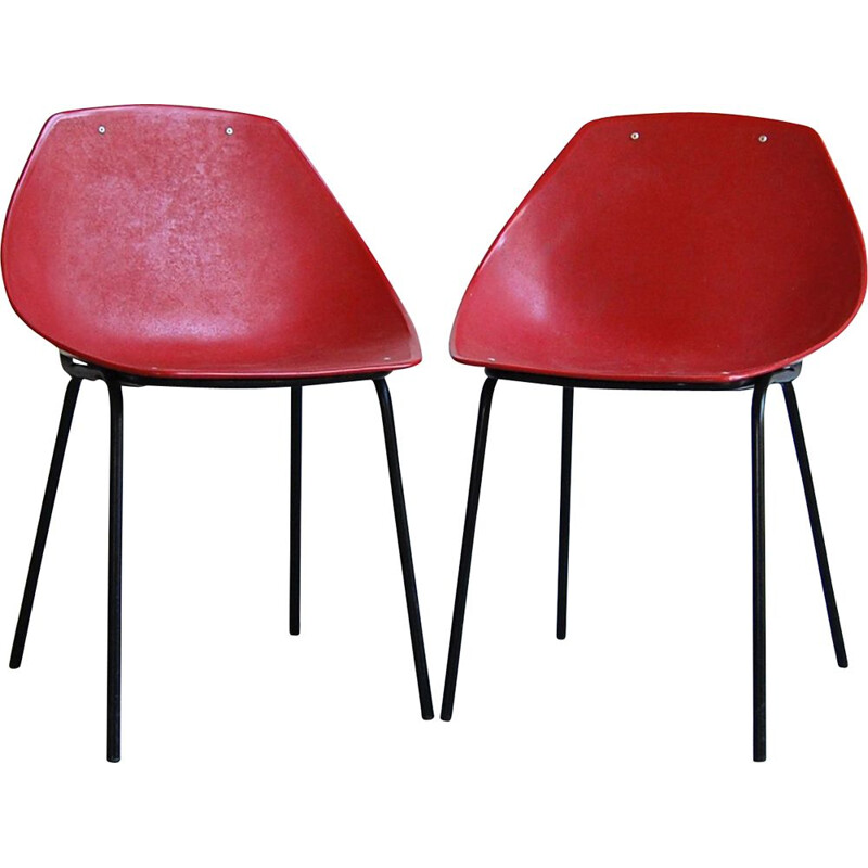 Pair of shell vintage chairs by Pierre Guariche for Meurop