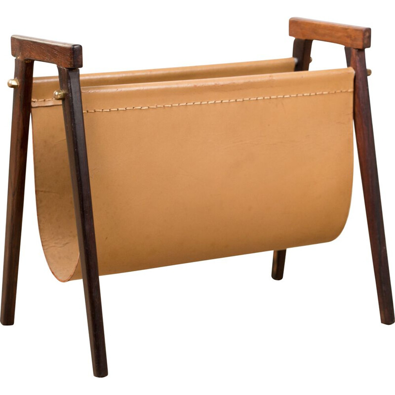 Vintage magazine rack in Rio Rosewood and Leather by Torbjorm Afdal Danois