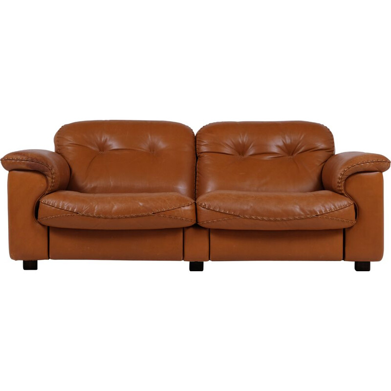 Vintage 2 seater sofa De Sede DS101 leather adjustable