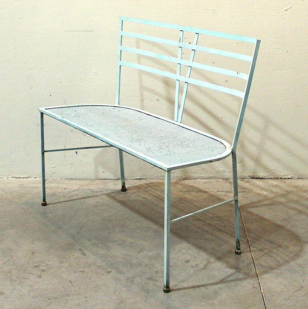 Picture of: Vintage Blue Iron Garden Bench Design Market