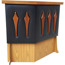 Mid century counter / bar in wood, leatherette and formica - 1960s