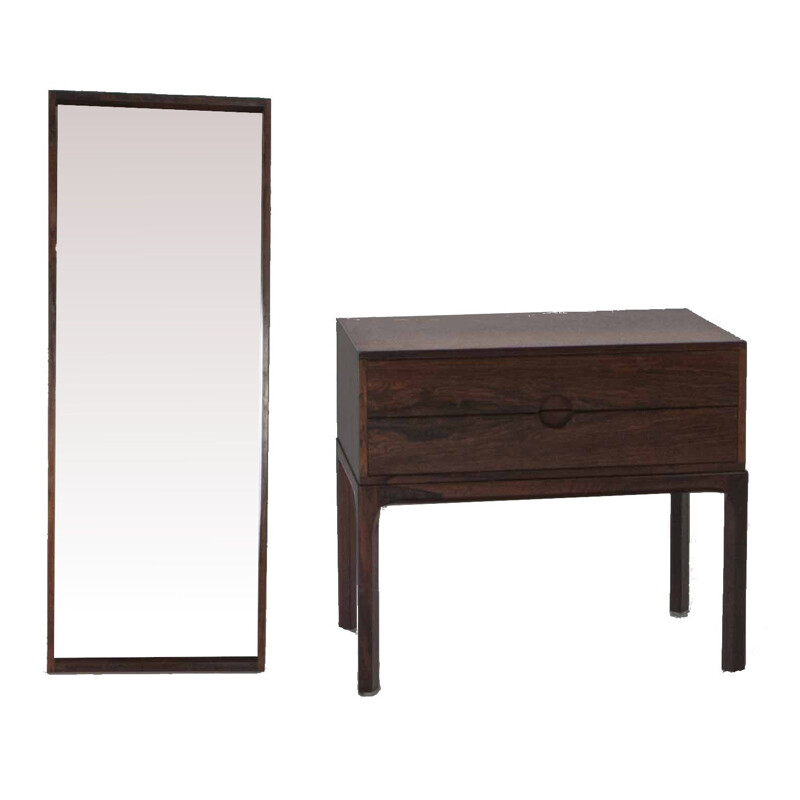 Vintage Chest of Drawers and Wall Mirror by Kai Kristiansen 1960s