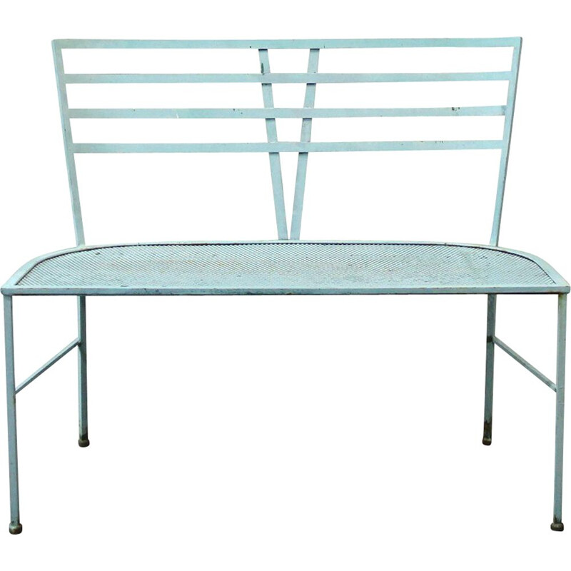 Vintage blue iron garden bench