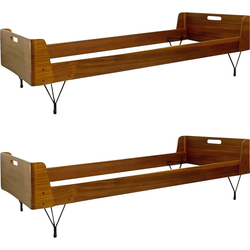 Pair of vintage beds by Rima by Gastone Rinaldi 1950