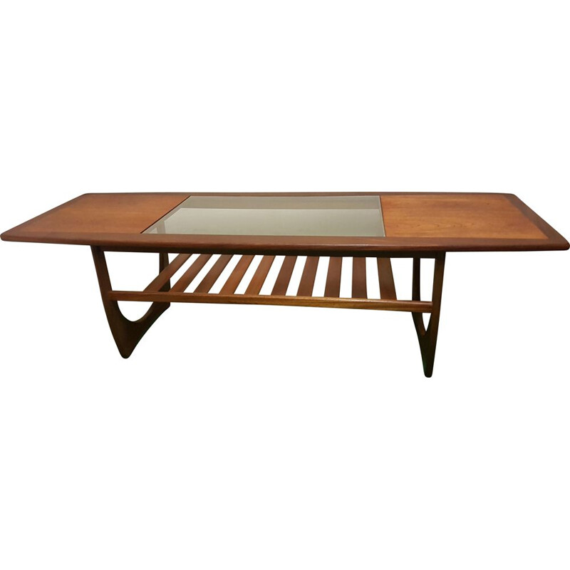 Vintage coffee table in glass and wood