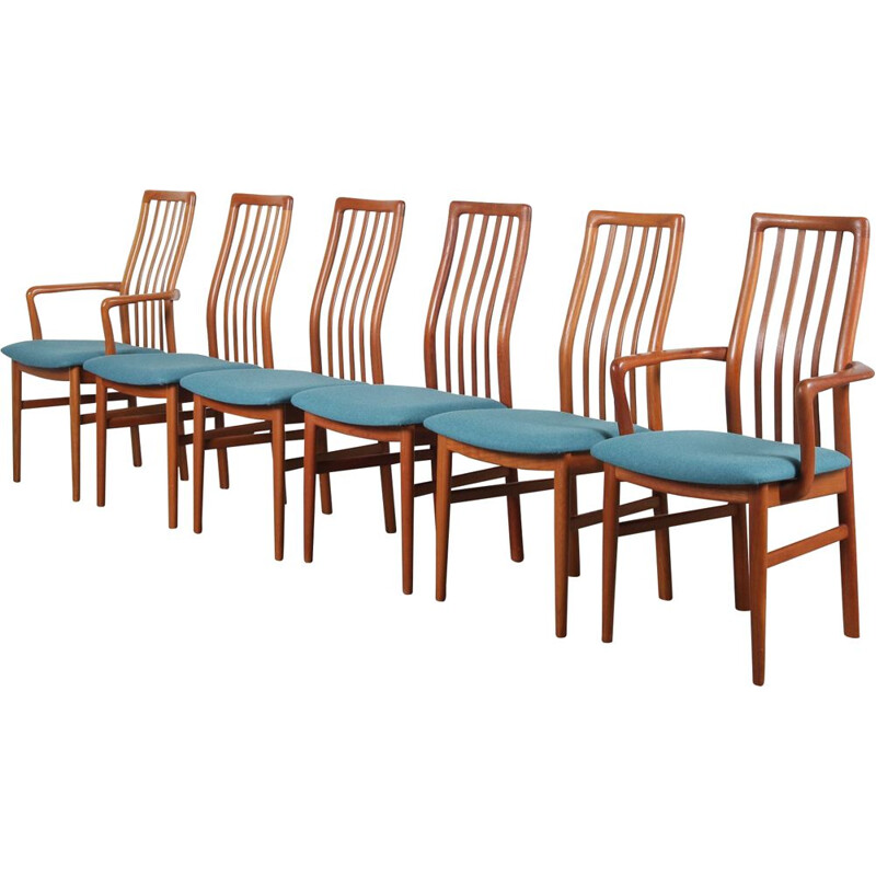 Set of 6 Vintage Teak dining chairs by Kai Kristiansen for Schou Andersen Mobelfabrik AS in Denmark 1970s