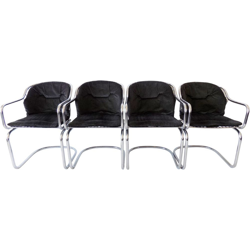 Set of 4 vintage dining chairs Gastone Rinaldi chrome wired 1970s