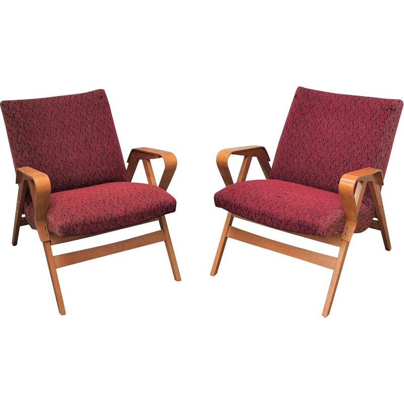 Pair of vintage Tatra armchairs model 24-23 1960