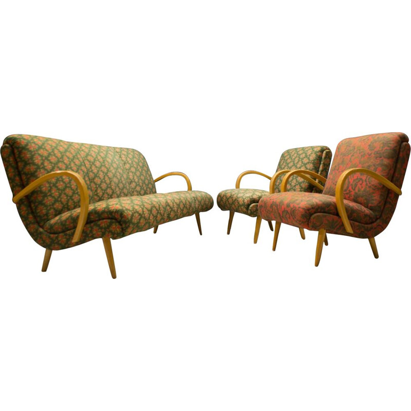 Set of Mid-Century Living Room : sofa and 2 armchairs in fabric, 1950s