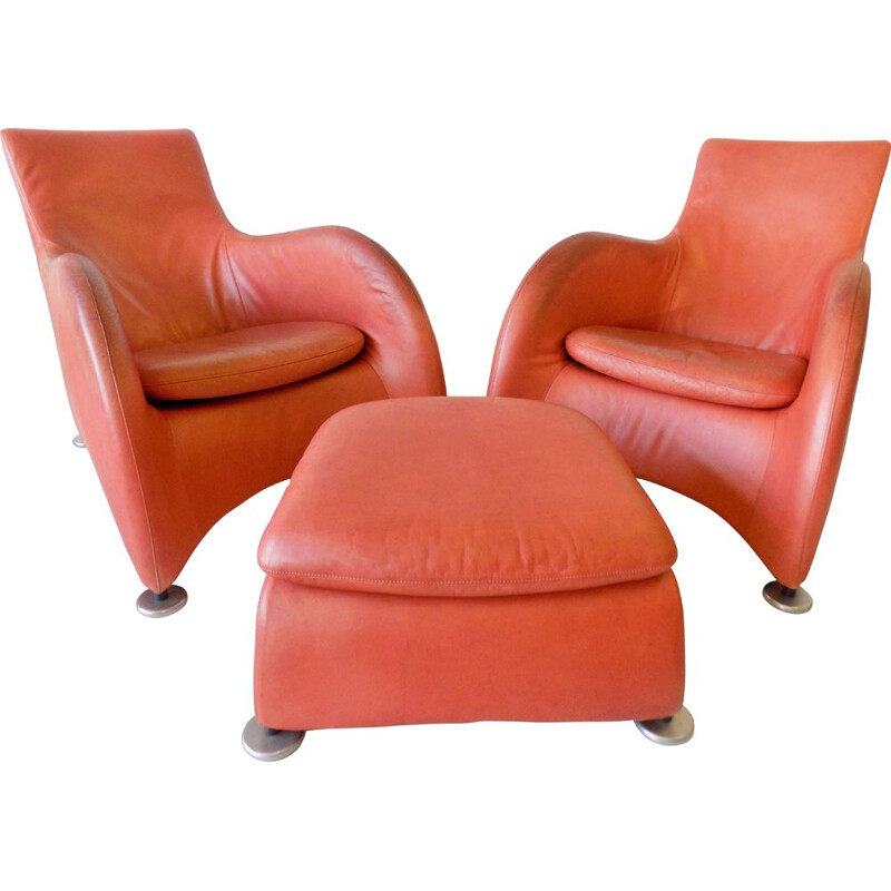 Pair of Vintage leather loungechairs with ottoman Montis Loge by Gerard van den Berg