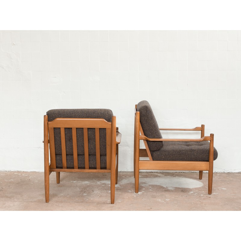 Set Of 2 Scandinavian Easy Chairs In Beech Wood 1960s Design Market