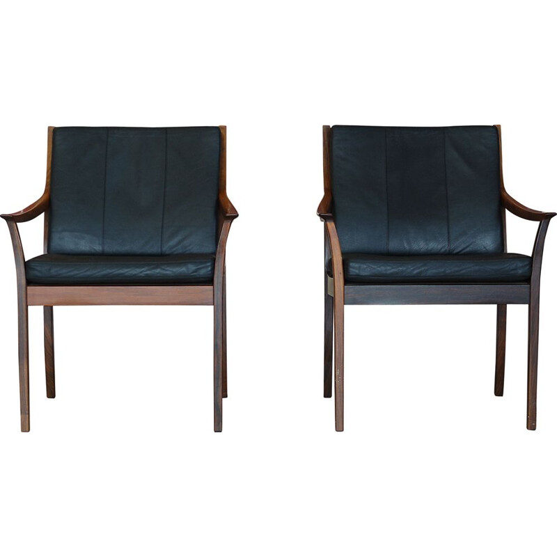 Pair of leather armchairs by Torbjørn Afdal for Bruksbo,rosewood Norway 1970