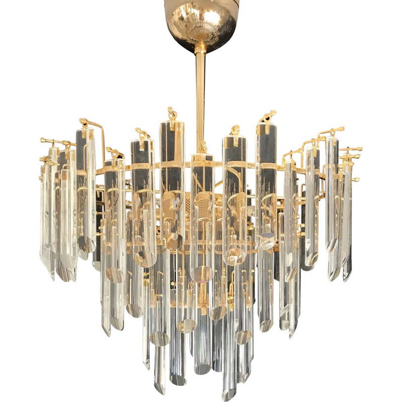 Vintage golden chandelier Venini 1980