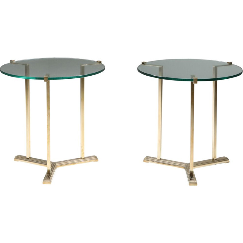 Vintage Brass Side Tables by Peter Ghyczy Netherlands 1980s