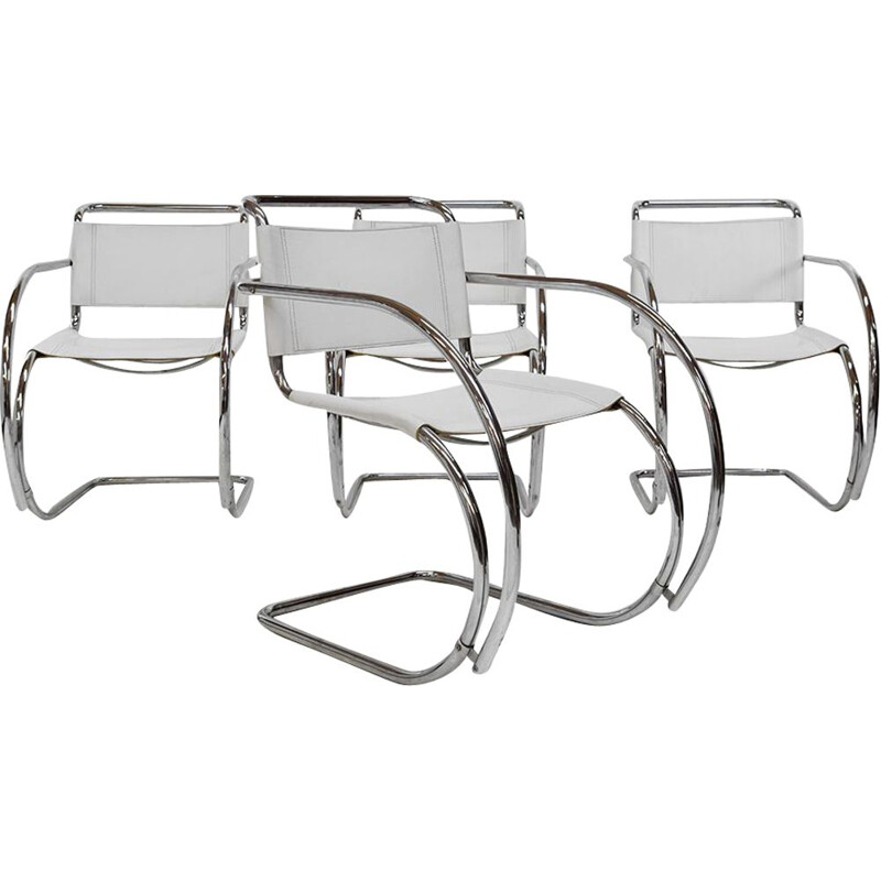 Set of 4 vintage Leather Bauhaus Cantilever chairs Attributed to MR 20 Mies van der Rohe, Fasem 1970s
