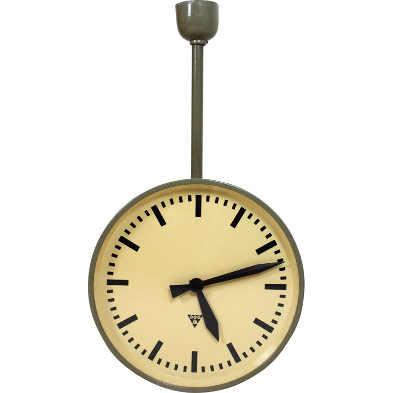 Vintage Large Double Sided Railway Clock from Pragotron, 1970s