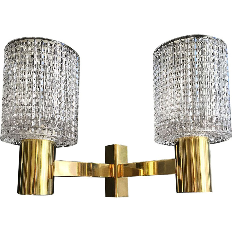 Vintage double wall light in brass and crystal. Carl Fagerlund. Orrefors 1960