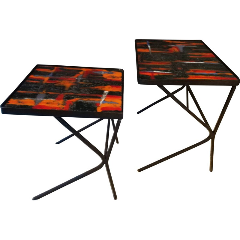 Pair of vintage nesting tables Cloutier asymmetrical black lacquered metal