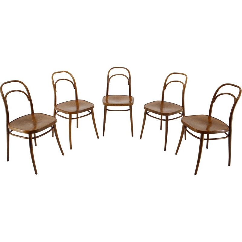 Set of 4 vintage dining chairs Ton, by Antonin Suman, 1960