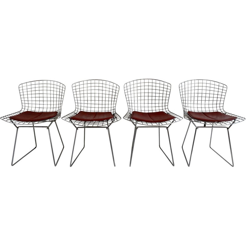 Set of 4 vintage Early Bertoia Chairs from Knoll, 1962