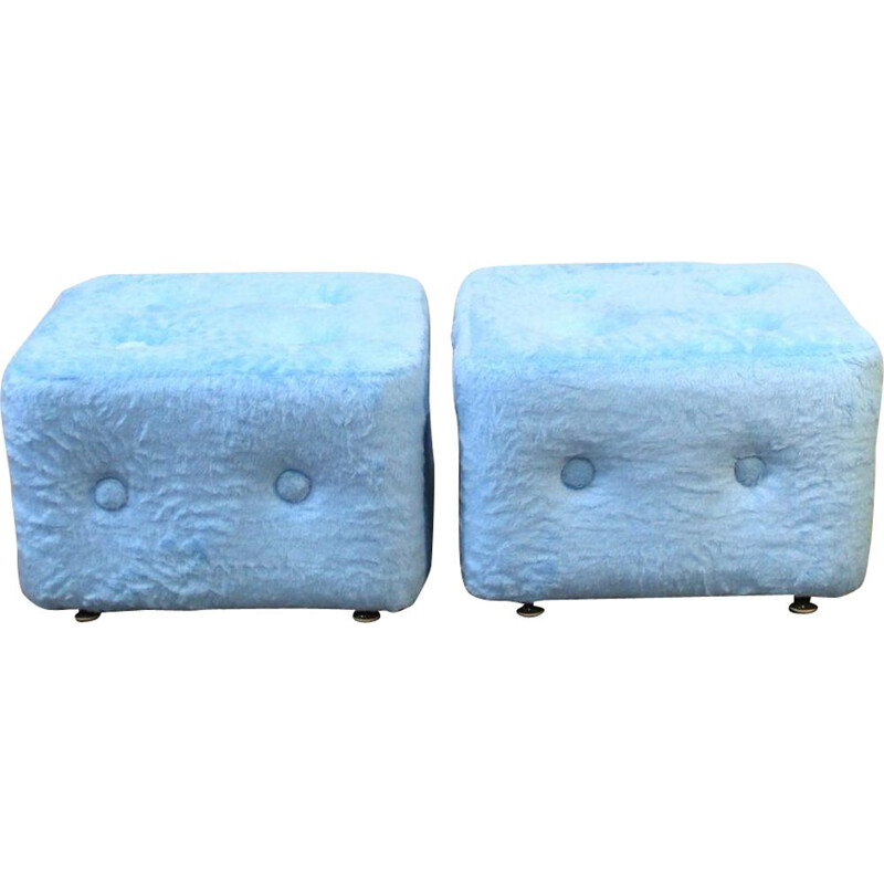 Pair of Blue Ottomans, Spain 1970s