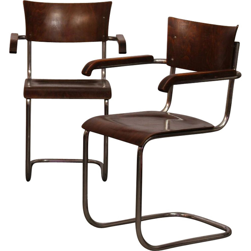 Pair of vintage armchairs by Mart Stam, Czech, 1940