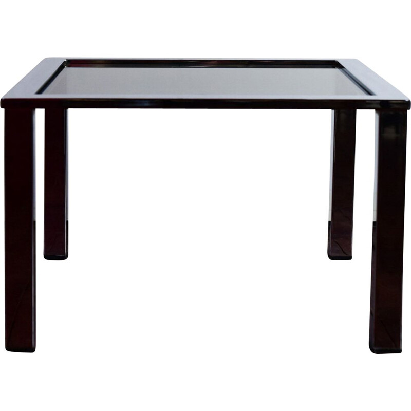 Vintage coffee table chrome and grey smoked glass Milo Baughman
